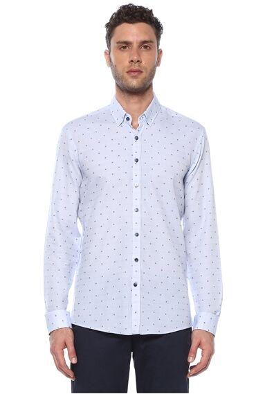 Jakarlı Slim Fit Açık Mavi Gömlek
