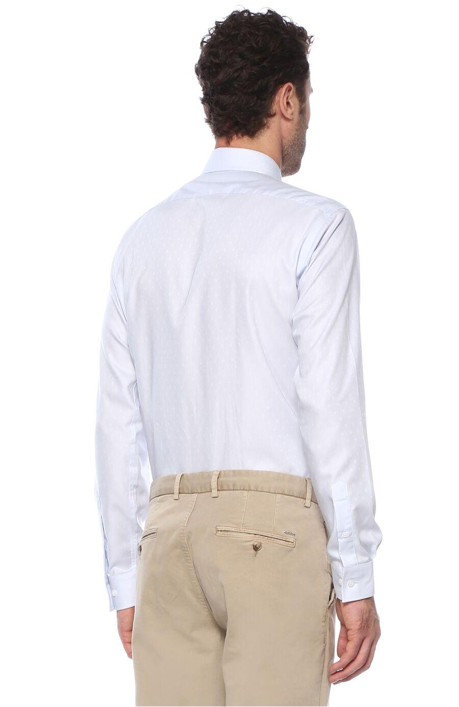 Jakarlı Regular Fit Açık Mavi Gömlek