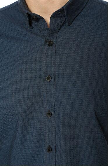 Jakarlı Slim Fit Koyu Mavi Gömlek