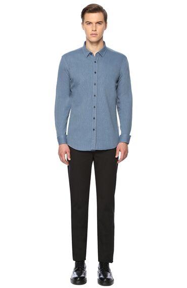 Slim Fit Koyu Mavi Gömlek