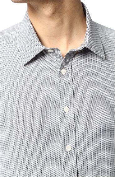 Jakarlı Regular Fit Mavi Gömlek