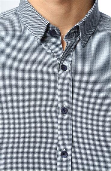 Kaz Ayağı Lacivert-Beyaz Gömlek