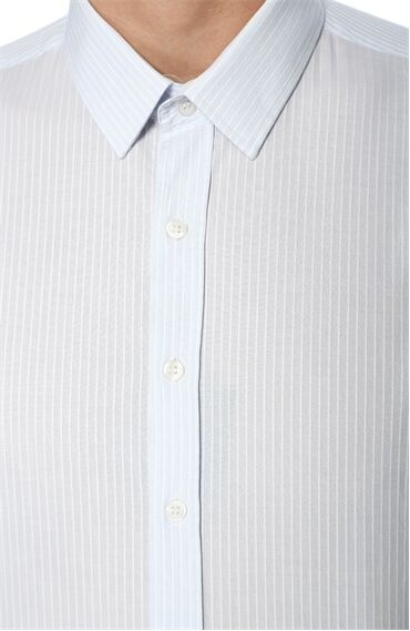 Çizgili Açık Mavi-Beyaz Gömlek