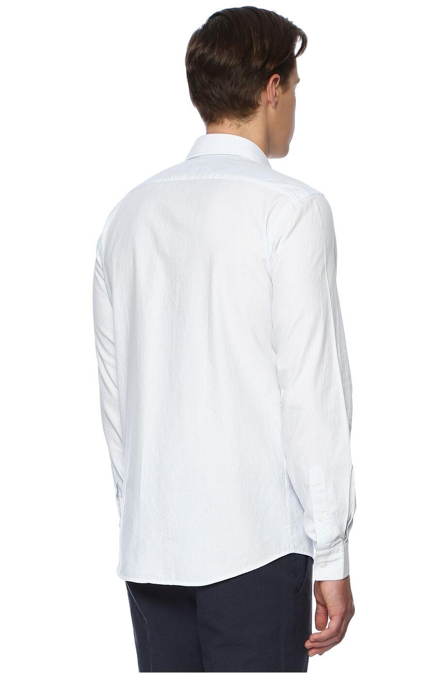 Balenli Uzun Kol Beyaz Lacivert Gömlek