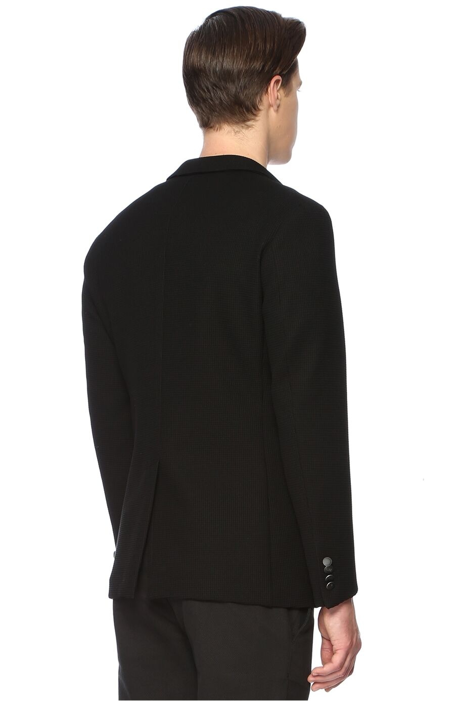 Waffle Desenli Siyah Ceket