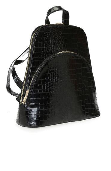 Siyah Kroko Dokulu Kadın Sırt Çantası