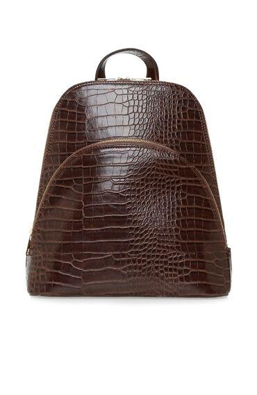 Kahverengi Kroko Dokulu Kadın Sırt Çantası