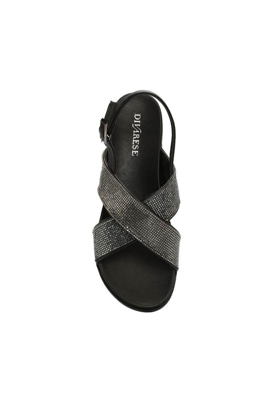 Taşlı Siyah Antrasit Kadın Sandalet