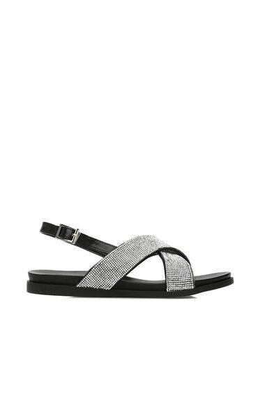 Taşlı Gümüş Kadın Sandalet