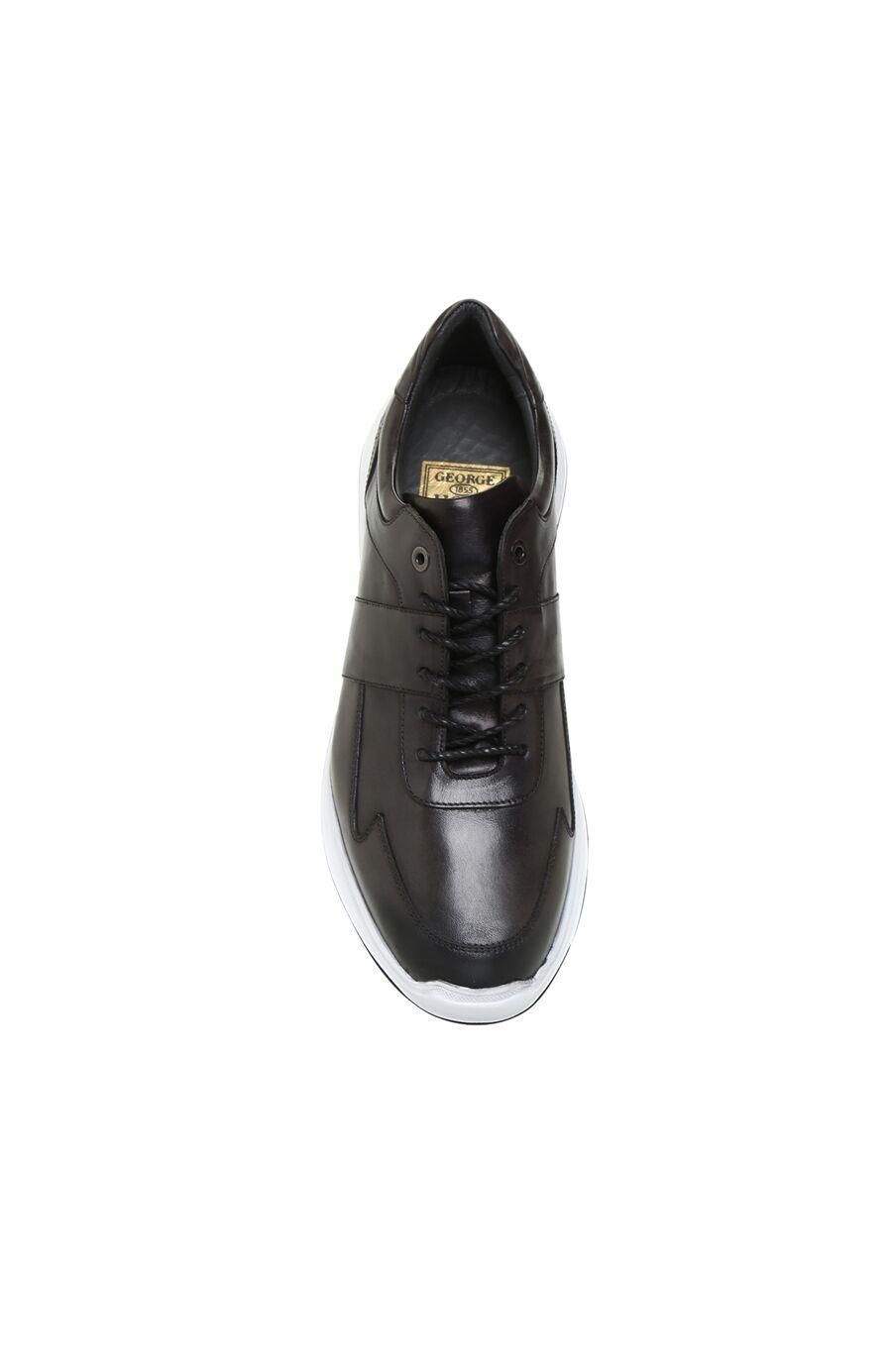 Gri Dikiş Detaylı Erkek Deri Sneaker