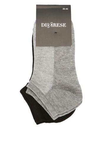 Kadın Siyah Antrasit 2'li Çorap Set