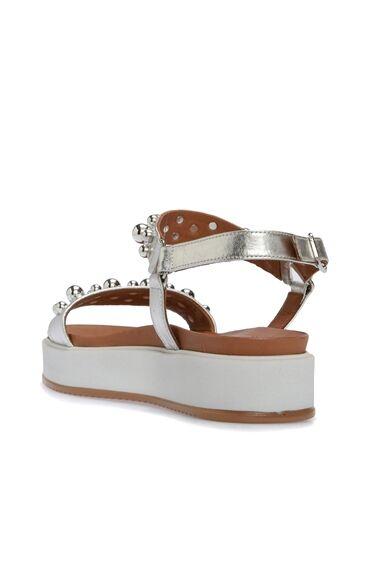 Taşlı Gümüş Sandalet