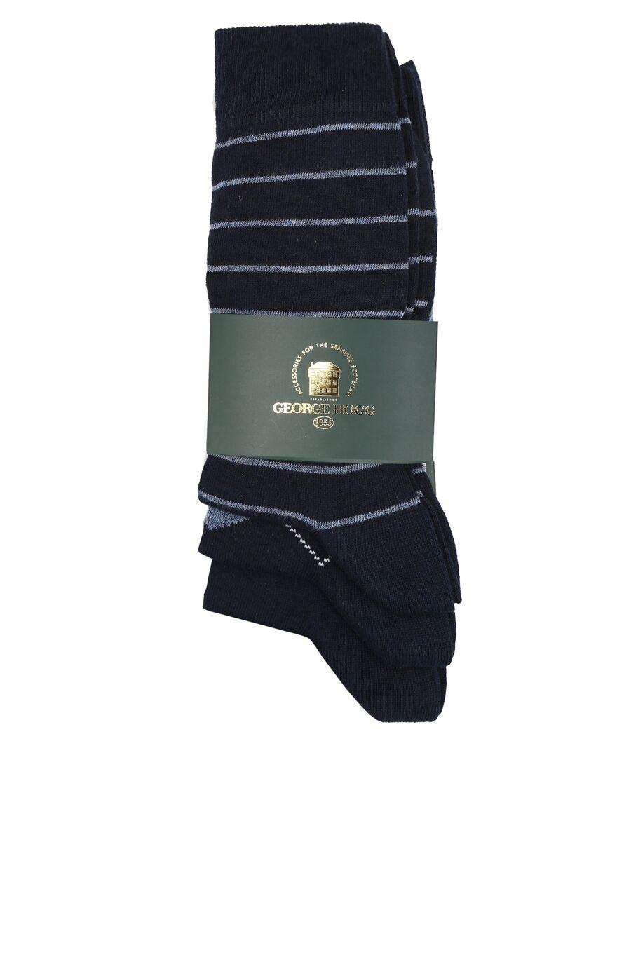 Desenli Lacivert 3lü Erkek Çorap Seti