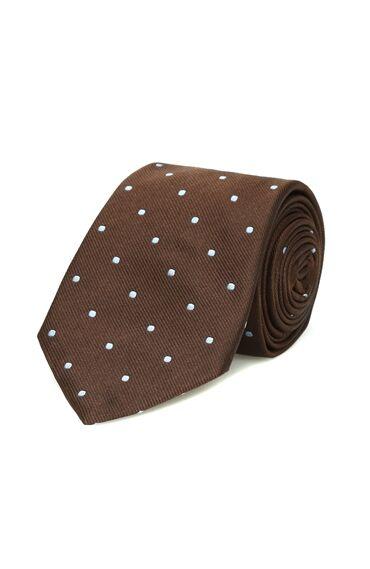 Kahverengi Beyaz Puantiyeli İpek Erkek Kravat