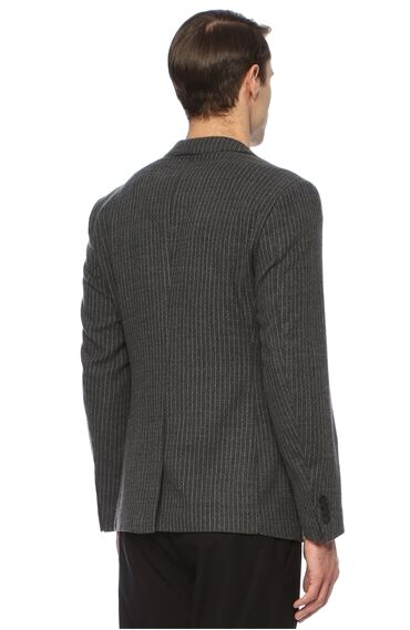 Çizgili Siyah Gri Ceket