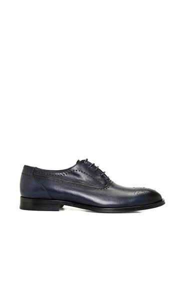 Lacivert Bağcıklı Deri Erkek Ayakkabı