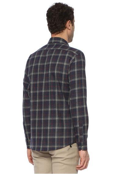 Ekose Lacivert - Bordo Gömlek