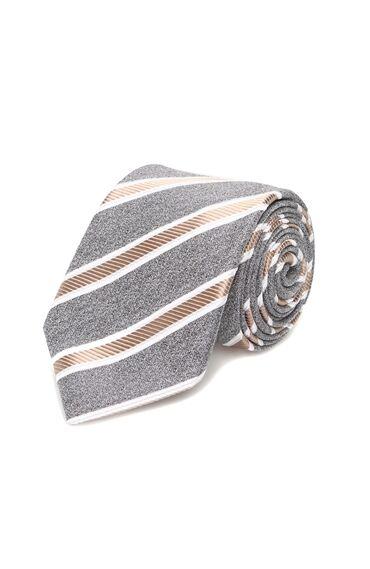 Gri Verev Çizgili Erkek Kravat