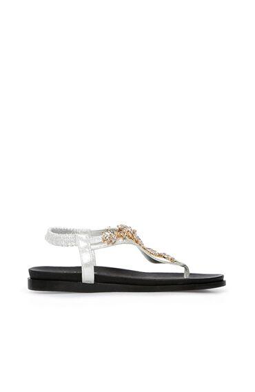 Taşlı Gümüş Rengi Kadın Sandalet