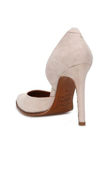 Stiletto Bej Rengi Süet Topuklu Kadın Ayakkabı