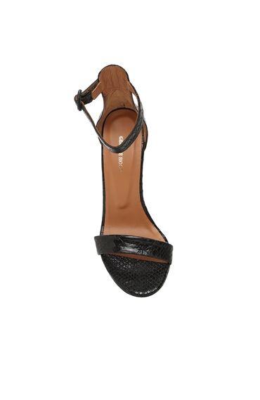 Kroko Siyah Kadın Sandalet