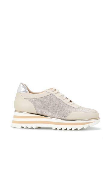 Krem Baskılı Kadın Deri Sneaker