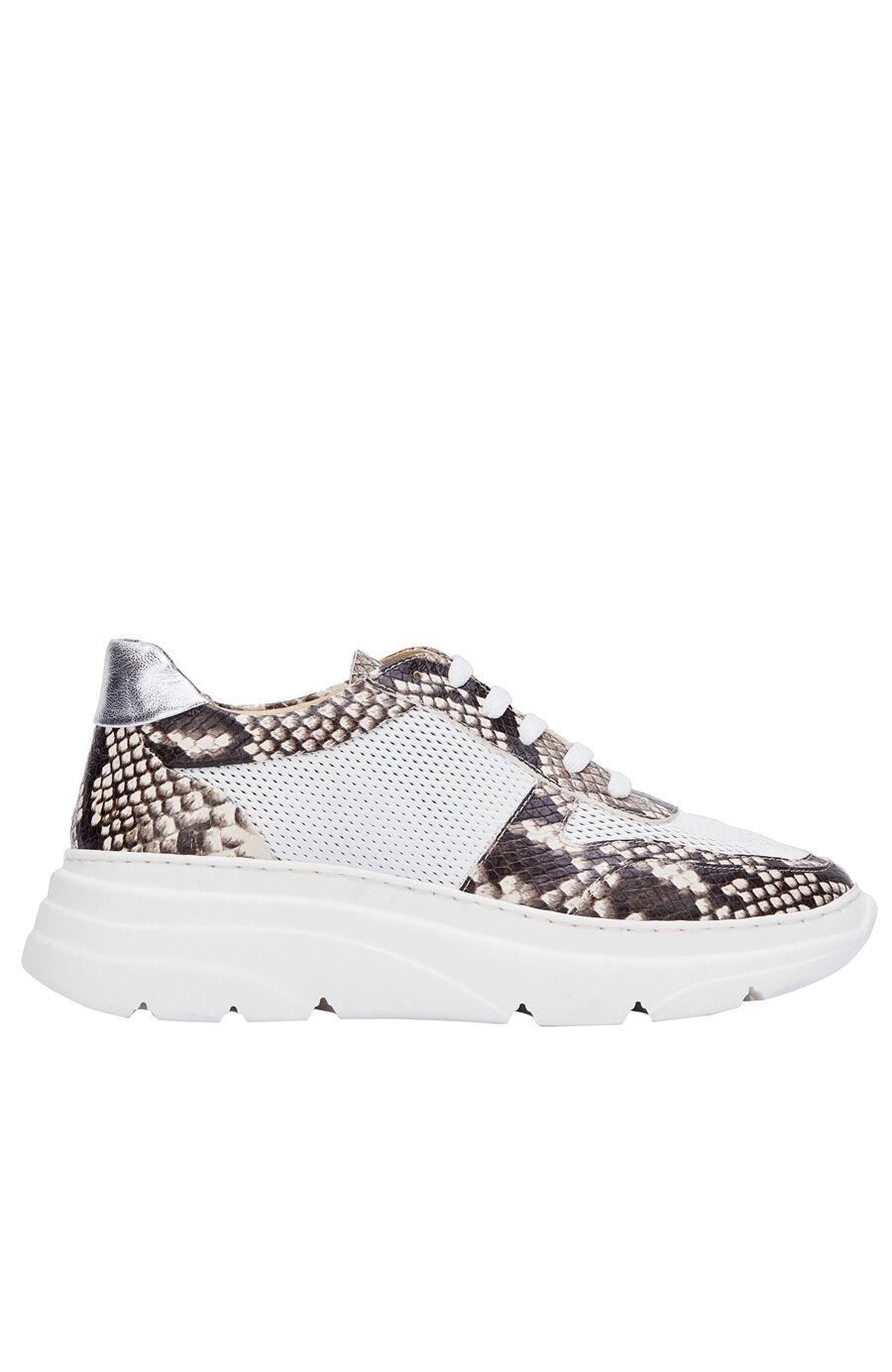 Beyaz Bej Krokodil Desenli Kadın Deri Sneaker