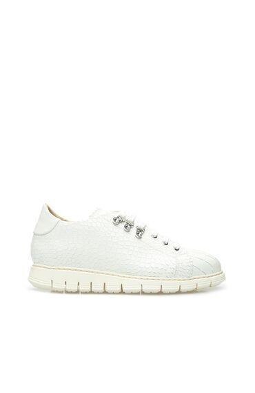 Beyaz Krokodil Dokulu Kadın Deri Sneaker