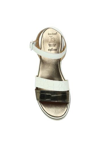 Kroko Beyaz Kadın Sandalet