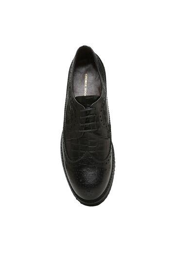 Siyah Kroko Dokulu Kadın DEri Ayakkabı