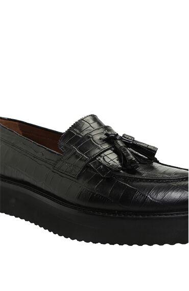 Siyah Krokodil Dokulu Kadın Deri Loafer