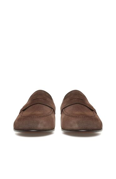 Kahverengi Kadın Süet Loafer