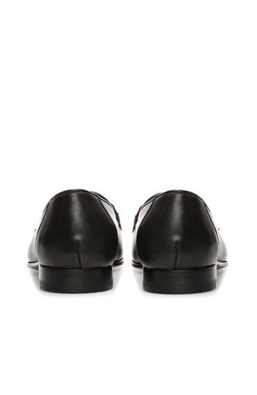 Siyah Tokalı Kadın Deri Loafer
