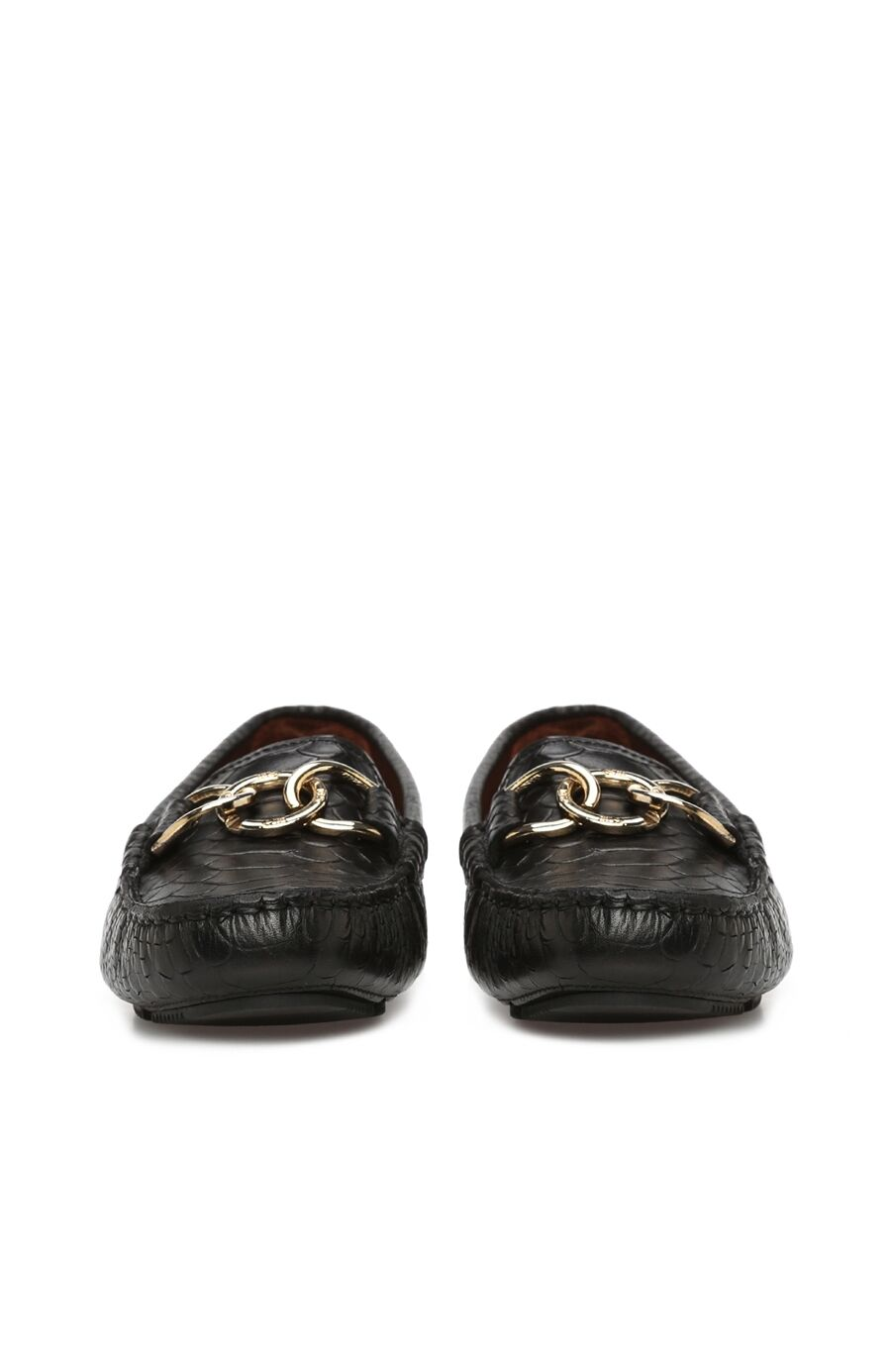 Siyah Kroko Dokulu Kadın Deri Loafer