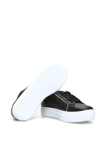 Siyah Kadın Deri Sneaker