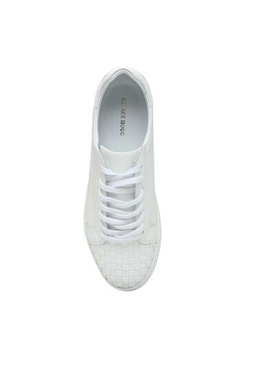 Beyaz Örgü Doku Detaylı Kadın Deri Sneaker