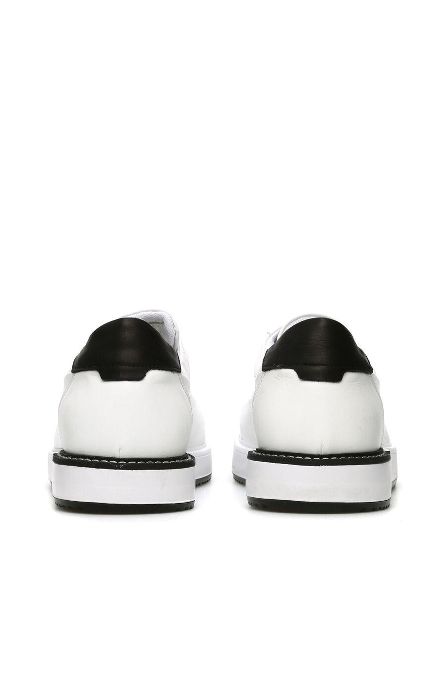 Beyaz Siyah Logolu Erkek Deri Sneaker