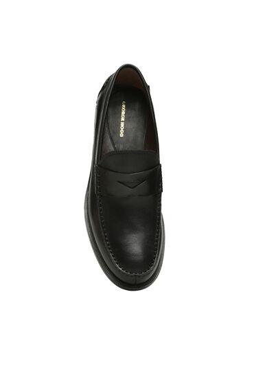Siyah Bantlı Erkek Deri Loafer
