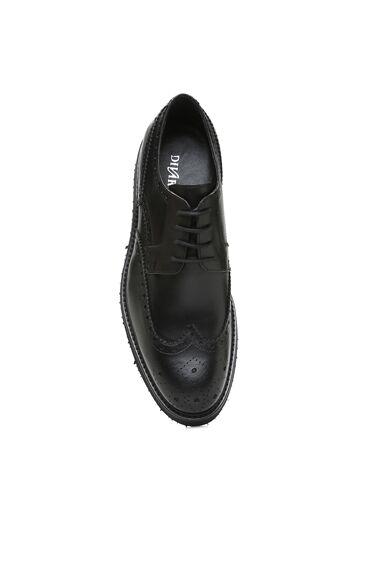 Siyah Delik Dokulu Erkek Deri Ayakkabı