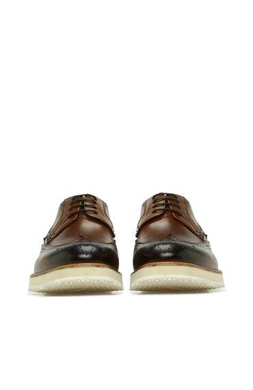 Kahverengi Delik Dokulu Erkek Deri Ayakkabı