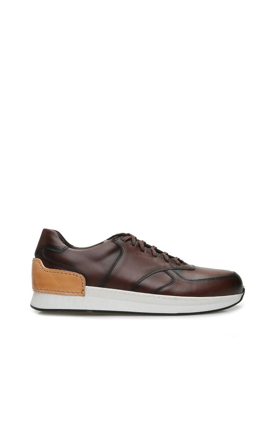 Kahverengi Taban Detaylı Erkek Deri Sneaker
