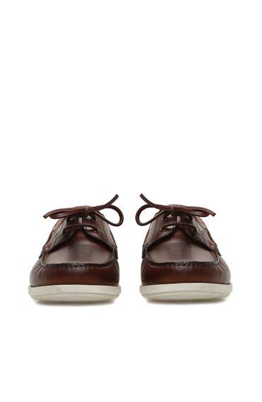 Kahverengi Bağcık Detaylı Erkek Deri Loafer