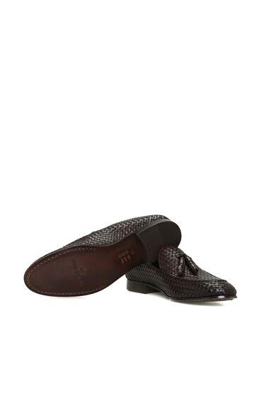 Kahverengi Örgü Dokulu Püsküllü Erkek Deri Loafer