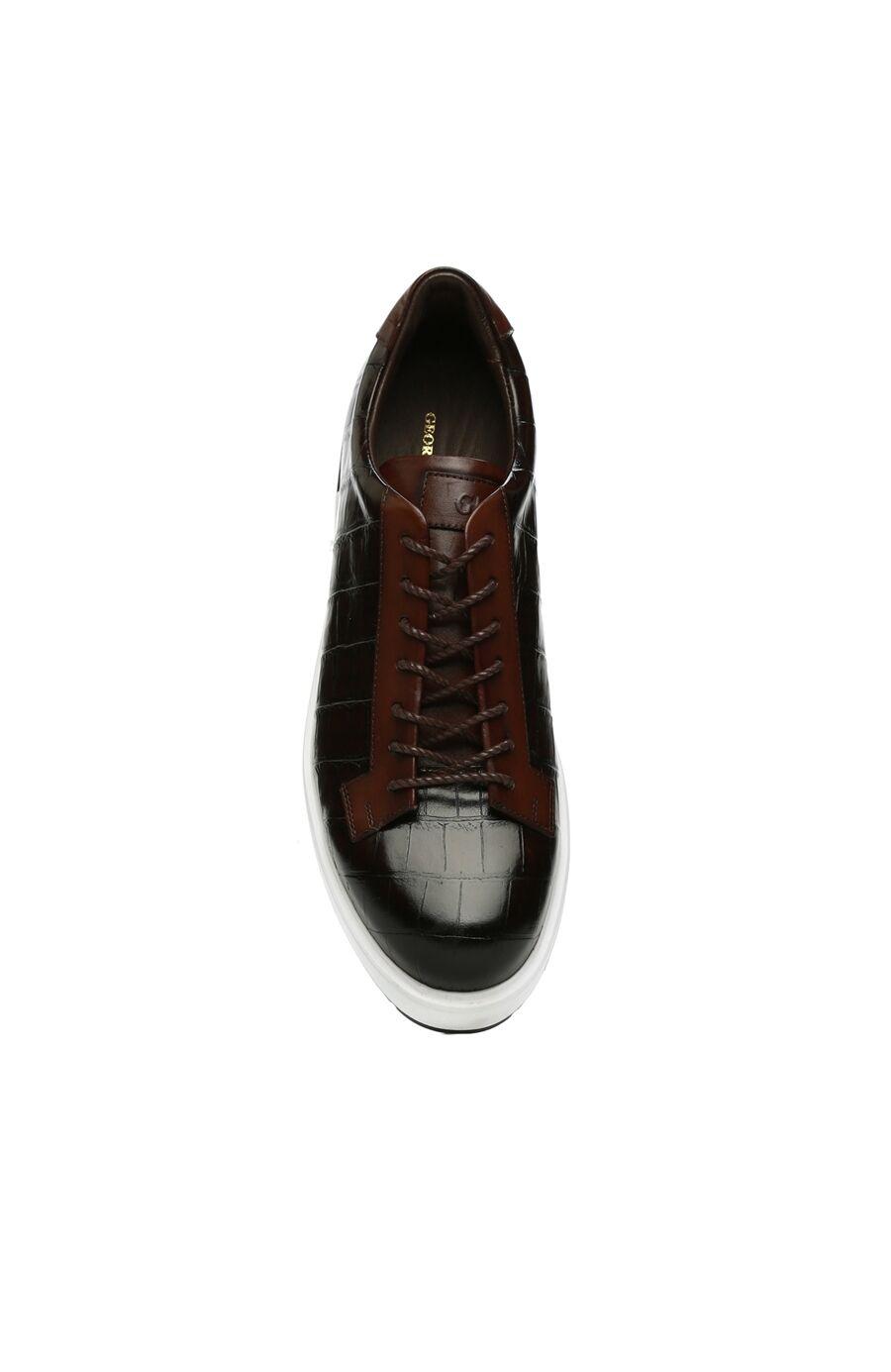 Kahverengi Krokodil Dokulu Erkek Deri Ayakkabı