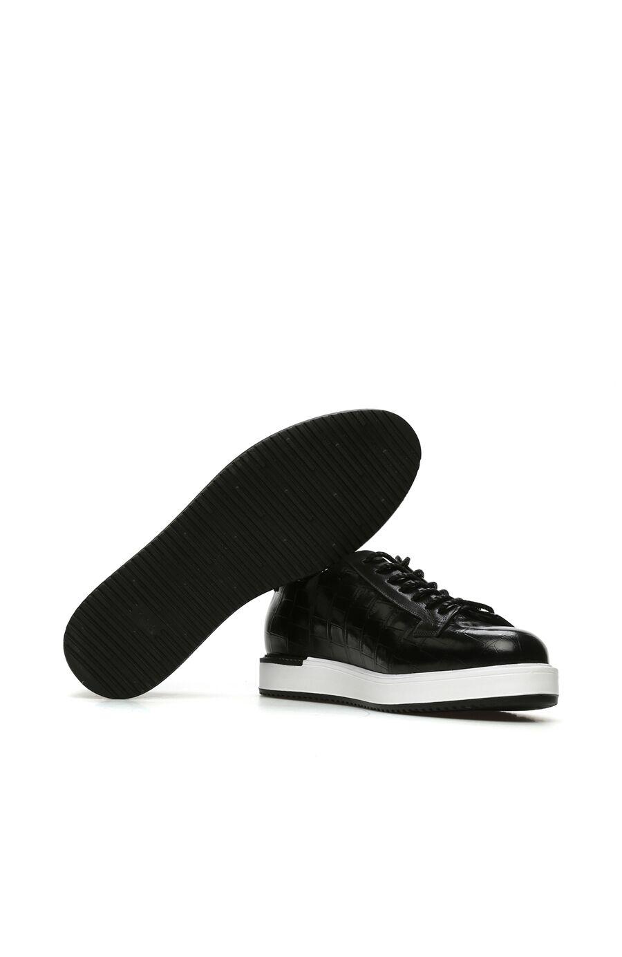 Siyah Krokodil Dokulu Erkek Deri Ayakkabı