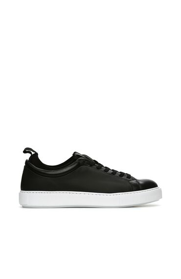 Siyah Garnili Erkek Deri Sneaker