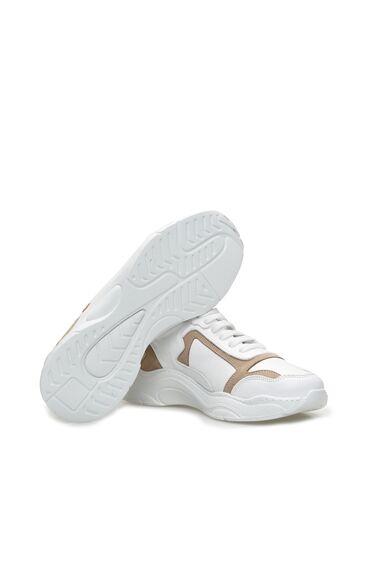 Beyaz Bej Kadın Deri Sneaker