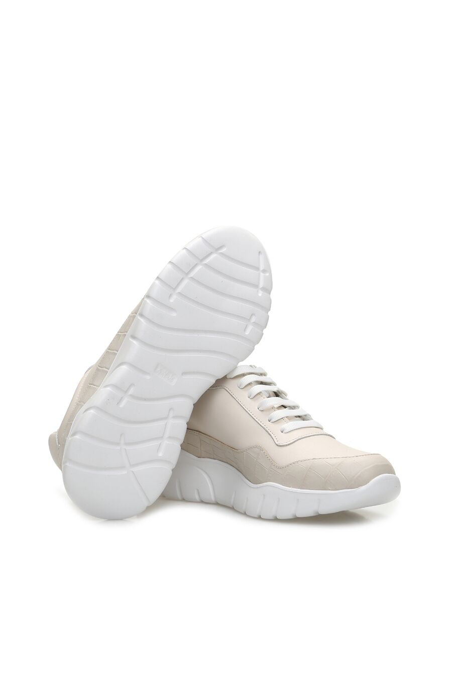 Bej Kroko Doku Detaylı Kadın Deri Sneaker