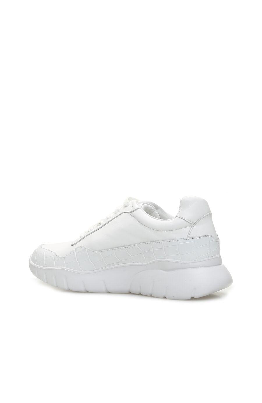 Beyaz Kroko Doku Detaylı Kadın Deri Sneaker