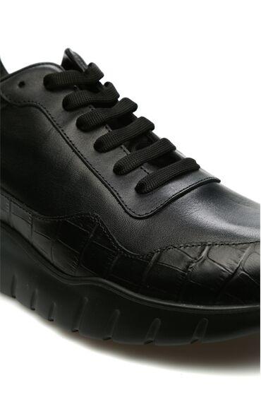 Siyah Kroko Doku Detaylı Kadın Deri Sneaker
